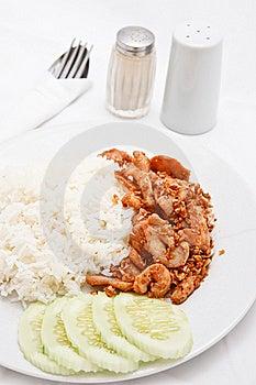 Thai Style Food, Pork Wiht Crunchy Garlic Stock Photography - Image: 17017342