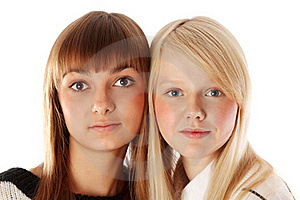 Portrait Two Girls Of The Blonde And Brunettes Royalty Free Stock Photo - Image: 17017355