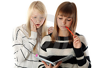 Two Beautiful Girls Read Diary Book Stock Images - Image: 17017374