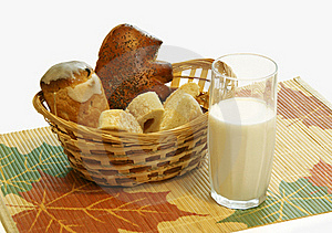 Bread And A Milk Glass Royalty Free Stock Photography - Image: 17020237