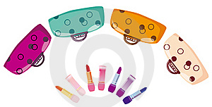Colour Bags And Lipstick Royalty Free Stock Photography - Image: 17020347
