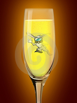 Rabbit Diver In The Glass Of Champagne Stock Image - Image: 17023161