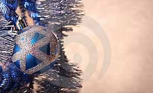 Blue Christmas Ball With Glitter, Extreme Close-up Stock Images - Image: 17025004