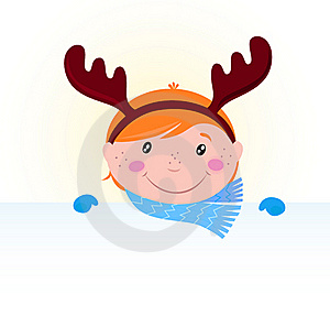 Christmas Kid In Reindeer Costume With Banner Stock Photos - Image: 17027633