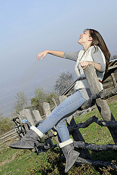 Happy Woman Laughing Outside Stock Photo - Image: 17035290