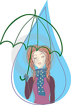 Girl With Umbrella In Drop Stock Images - Image: 17037004