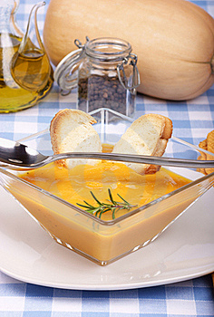 Cream Of Squash Soup In A Squared Glass Plate Royalty Free Stock Images - Image: 17042399