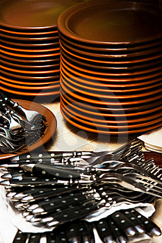 Plates And Forks Stock Images - Image: 17042774