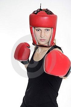 Female Boxer Over White Royalty Free Stock Image - Image: 17045826