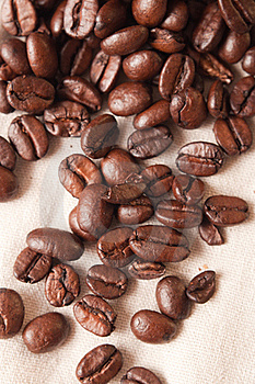 Coffee Beans In A Linen Fabric Royalty Free Stock Photo - Image: 17047035