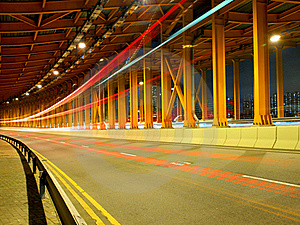 Tunnel Traffic At Night Royalty Free Stock Photo - Image: 17053115