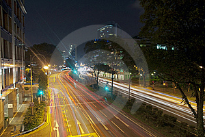 Night Traffic In Singapore Royalty Free Stock Photo - Image: 17056115