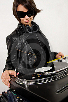 Female DJ At The Turntables Stock Images - Image: 17056494