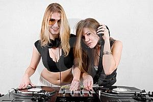 Female Djs Mixing Vinyl Stock Photos - Image: 17056603