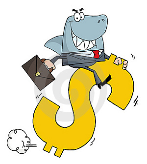 Business Shark Businessman Riding On A Dollar Royalty Free Stock Photography - Image: 17058737