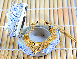 Golden Jewellery With Jewellery Box Royalty Free Stock Images - Image: 17060699
