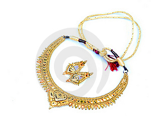 Golden Necklace And Ear-rings Jewellery Stock Image - Image: 17060921