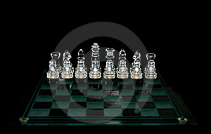 Crystal  Chess Board And Figures Royalty Free Stock Photography - Image: 17061997