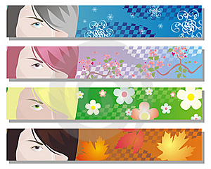 Web Banners For Four Seasons Royalty Free Stock Photography - Image: 17062727