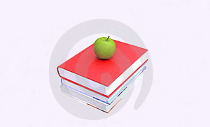 Books With An Apple On Top Royalty Free Stock Photo - Image: 17064075