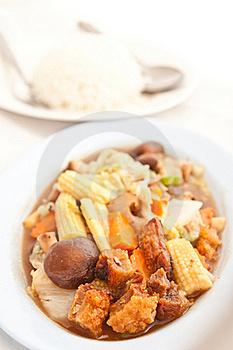 Fried Vegetables Wiht Cruncy Pork In Thai Style Royalty Free Stock Image - Image: 17065806