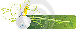 Tooth Brush And Paste. Decorative Banner Royalty Free Stock Photography - Image: 17070027