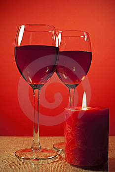 Glass Of Wine And A Candle Royalty Free Stock Image - Image: 17074186