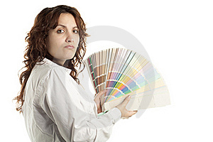 Woman In Doubt With Color Swatch Royalty Free Stock Photo - Image: 17075835