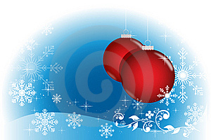 Blue Winter With Red Balls Royalty Free Stock Photography - Image: 17078027