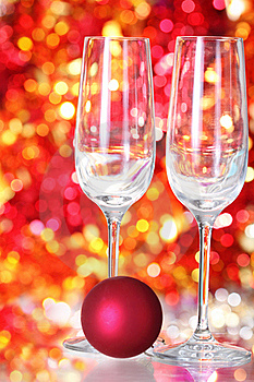 Two Empty Glasses And Red Ball Decoration Stock Image - Image: 17078041