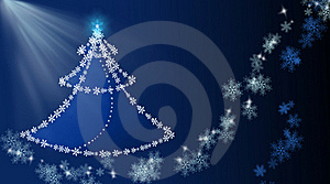 Background With Christmas Tree And Snowflakes Royalty Free Stock Images - Image: 17078209