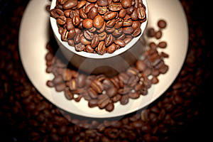 Part Of Cup Full Of Hot Coffee Beans Stock Photo - Image: 17078570