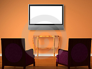 Two Luxurious Chairs With Wooden Table And Lcd Tv Stock Photo - Image: 17078630