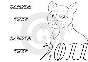 Frame With Styled Cat New Year Symbol Stock Image - Image: 17088611