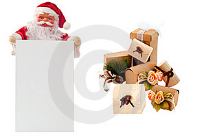 Santa Claus And Several Christmas Packages Royalty Free Stock Photography - Image: 17091447