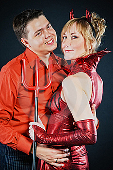 Red Devil Couple Royalty Free Stock Images - Image: 17108649