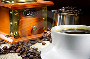 Cup Of Coffee, Beans, Pot And Grinder On Sacking Royalty Free Stock Photos - Image: 17109918