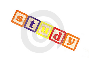 Toy Block Letters Spell Study. Royalty Free Stock Photography - Image: 17109967