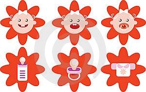 Flower Girls Icons Vector Set Stock Photo - Image: 17110290