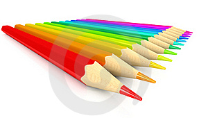 Colour Pencils Over White Background Stock Images - Image: 17111134