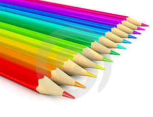 Colour Pencils Over White Background Stock Photo - Image: 17111140