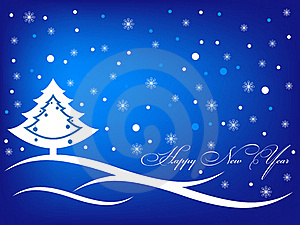 Happy New Year Blue Greeting Inscription Card Royalty Free Stock Photos - Image: 17122078