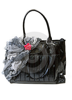 Feminine Bag With Scarf And Red Rose Royalty Free Stock Photos - Image: 17143088