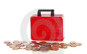 Euro Coins And A Briefcase Stock Image - Image: 17145291