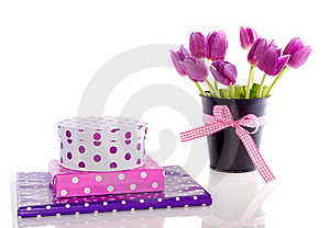 Purple Tulips And Gifts Royalty Free Stock Photo - Image: 17145925