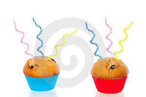 Two Colorful Muffins Decorated Royalty Free Stock Photos - Image: 17146068