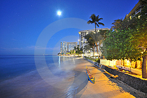 Moon Over Beach With An Outrigger And Trees Royalty Free Stock Photo - Image: 17149305