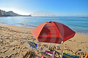 Red Umbrella In Beach With Chairs By Ocean Stock Image - Image: 17149331