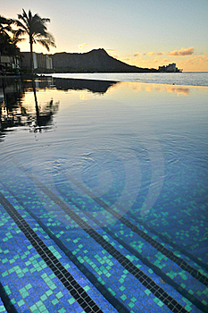 Diamond Head Is Reflected In An Infinity Pool Stock Photo - Image: 17149340