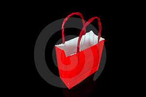 Red Shopping Bag On Black Royalty Free Stock Photos - Image: 17150528